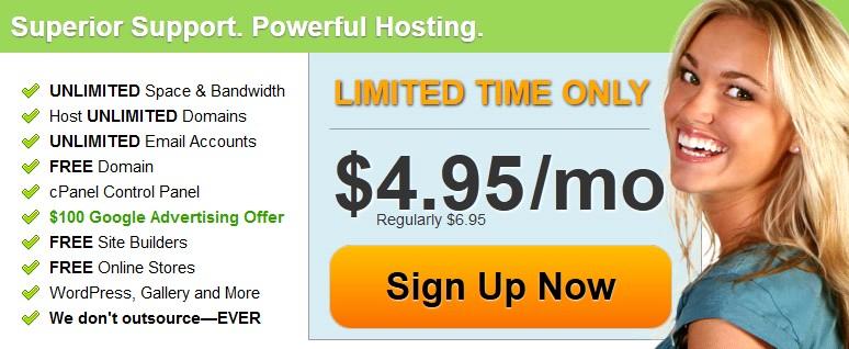 国外空间BlueHost和HostMonster兄弟齐上阵 同步4.95美元促销