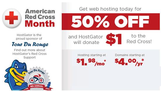 HostGator国外空间美国红十字会月半价购主机
